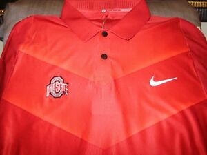 Ohio State Buckeyes NIKE Tiger Woods Dri Fit Red Polo Golf Shirt Men's Medium
