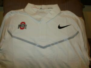 Ohio State Buckeyes NIKE Tiger Woods Dri Fit White Polo Golf Shirt Men's Medium