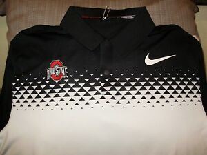 Ohio State Buckeyes NIKE Tiger Woods Dri Fit Black Polo Golf Shirt Men's Medium