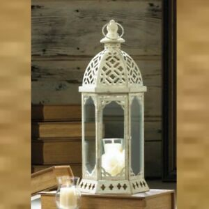 Distressed White vintage style 16 in Tall Lantern Candle Holder Centerpiece