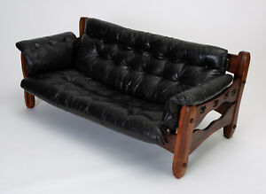 Don Shoemaker Leather Descanso Sofa Vintage Mexican Mid Century Modern 1970s