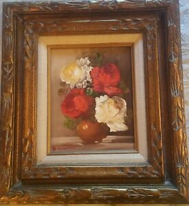 BRONZE GOLD WOOD FRAME VINTAGE OIL PAINTING 8x10 CANVAS SIGNED RED ROSES FLORAL