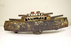 1909 METAL 17 INCH LONG TOY ANTIQUE WAR SHIP BOAT Moving Wheels
