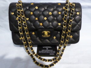 Chanel Classic Studded Double Flap Lambskin Medium  Bag