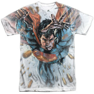 Authentic DC Comic Superman Bullets in the Sky Sublimation Allover Front T-shirt