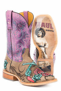 Tin Haul Womens PurpleBrown Leather Sure Shot Cowboy Boots