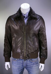 * JOHN VARVATOS * Brown Leather Aviator Fur Collar Bomber Jacket~ Large