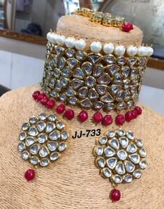 Handmade Kundan Designer Partywear Bridal Choker Red Stone Necklace Set qF18728