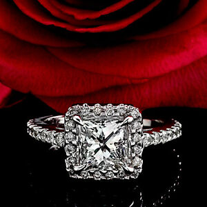 3.03CT PRINCESS CUT DIAMOND HALO DESIGN ENGAGEMENT RING ENHANCED 14K WHITE GOLD