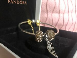 Authentic Pandora Silver Charm Bracelet with ANGEL LOVE Gold Euro
