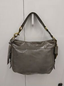 COACH Zoe Grey Patent Leather Hobo Bag Shoulder Handbag Purse