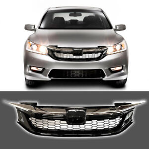 Fit For 2016 17 Honda Accord 9TH Front Grill Honeycomb Gloss Black Chrome Grille