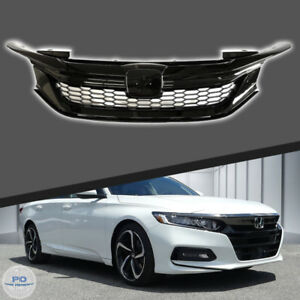 Fits For 2016 2017 Honda Accord  9TH Front Grill Honeycomb Gloss Black Grille
