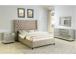 Beige Contemporary California King Size 4piece Solid Wood Bedroom Furniture Set