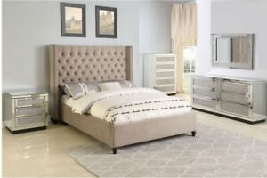 Beige Color Contemporary Eastern King Size 4pc Solid Wood Bedroom Furniture Set