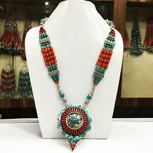AUGN17 - Turquoise & Coral Mexican Choker Necklace