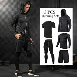 Running Sportswear Sets Men Casual Hooded Sweater Shorts Shirt Tights Tracksuit