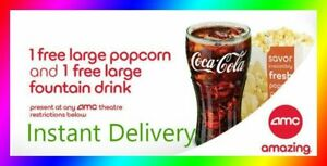 AMC Theater Large Popcorn & Large Drink  Super Fast E-Delivery - Exp 63020