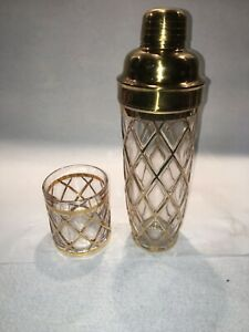 Altuzarra Gold & Glass Martini Cocktail Drink Shaker & Glass Retro Mid Century