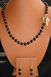 Black Onyx Necklace and Earring Set with Vermeil Gold Brass Accents