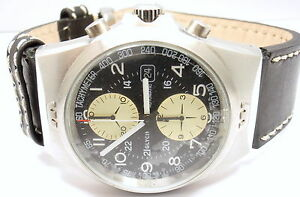 GLYCINE COMBAT AUTOMATIC TACHYMETER STAINLESS STEEL LEATHER BAND WATCH 42MM