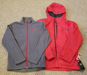 New! Boys Under Armour Size Youth Extra Large 3 In 1 Red Hooded Jacket