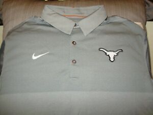 Texas Longhorns NIKE Dri Fit Elite Coaches Gray Polo Golf Shirt Men's 4XL