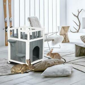 Wooden Cat Home with Balcony Pet House Small Dog Indoor Outdoor Shelter CA-450