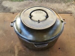 Lodge Cast Iron Arc Logo No. 9 High Dome Dutch Oven Basting Bullets Restored
