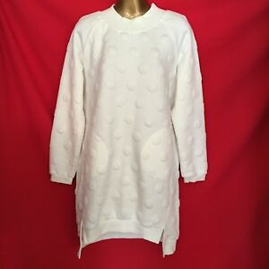 Croudspace Design Women Dress L 14 16 Off White Ivory Chic Stretch Casual 1J84
