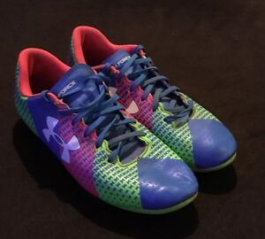 Under Armour CF FORCE HG JR Soccer Cleats Size 3Y Blue Green Pink 1266878-405