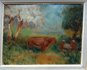 Antique Oil French Impressionist Painting Cows next to Lunch by Cassius Vignau