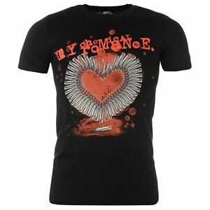 My Chemical Romance Smoking Gun Bullet Heart T-Shirt Mens Black Music Tee shirt