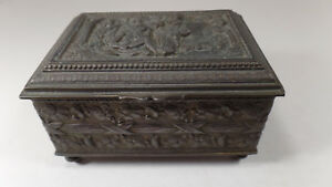 Antique Figural Bronze Footed Jewelry Box By Jennings Brothers