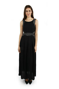 Joseph Ribkoff Solid Black Studded Sleeveless Long Cocktail Dress 183251 NEW