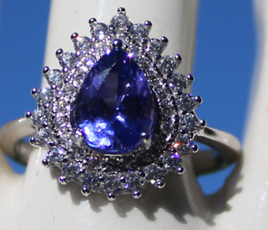 Tanzanite 1.55ctGold PlatedSolid Sterling Silver Cocktail RingNaturalPear