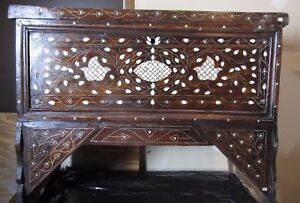 ANTIQUE SYRIAN MOTHER OF PEARL INLAID WOOD BRIDAL CHEST