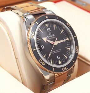 Omega Seamaster 300 18k Rose GoldSS Auto Watch 2017 BOXPAPERS 233.20.41.21.001