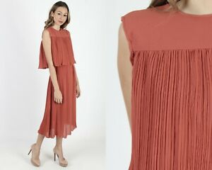 Vintage 70s Coral Pleated Dress Disco Lounge Cocktail Party Boho Midi Maxi