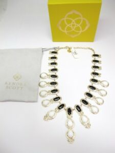 Kendra Scott Whitney Tapered Statement Necklace In Onyx and Opalite* NWT
