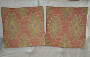 Pottery Barn set of 2 Wool Turkish Kilim Rug Pillow Covers India 18 × 18