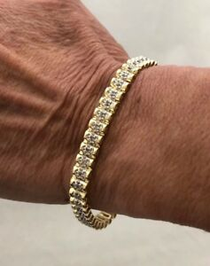 *DEAL* 14K ESTATE YELLOW GOLD 1.00 CT DIAMOND WAVE FLEX TENNIS LINE BRACELET