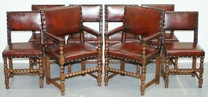 8 CIRCA 1900 SOLID OAK BOBBIN RESTORED HAND DYED BROWN LEATHER DINING CHAIRS