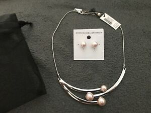 White House Black Market Necklace Earring Set Goddess Pink Pearls New With Tags