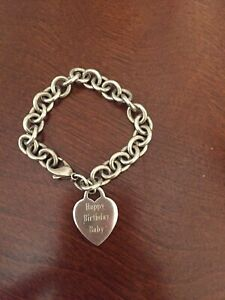 Tiffany & Co. Sterling Silver Heart Charm Chain Link Bracelet. 7 Inch Engraved.
