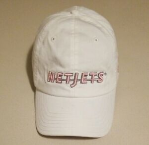 NETJETS QS Women's White & Tan Embroidered Pink Letters Strap Back Hat One Size