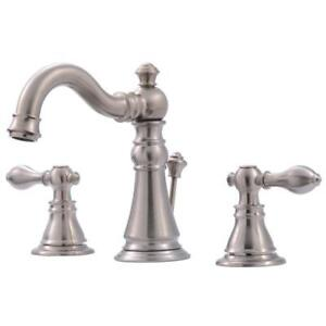 Ultra Faucets Two Handle Faucet Brushed Nickel Lavatory with Pop Up UF55113