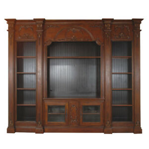 Huge TV Media Center Bookcase Solid Mahogany Wood Great Storage! 122''L X 100''H