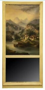 19Th C French Trumeau Mirror wHand Painted Oil on Canvas Landscape Art antique