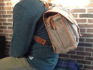 VINTAGE HEMP CANVAS & LEATHER BICYCLIST'S BRIEFCASE BACKPACK RUCKSACK BAG R$548